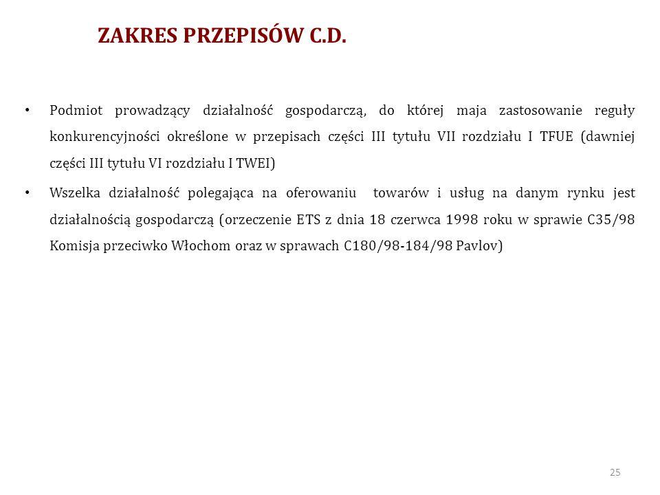 ZAKRES PRZEPISÓW C.D.