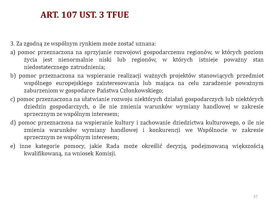 ART. 107 UST. 3 TFUE