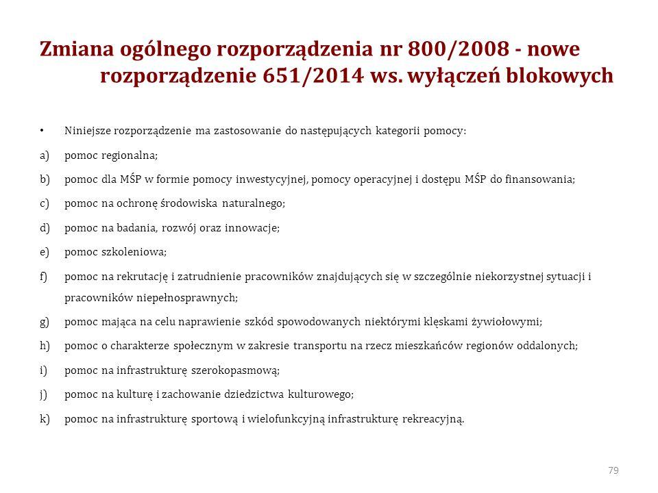 Zmiana ogólnego rozporządzenia nr 800/2008 - nowe rozporządzenie 651/2014 ws. wyłączeń blokowych
