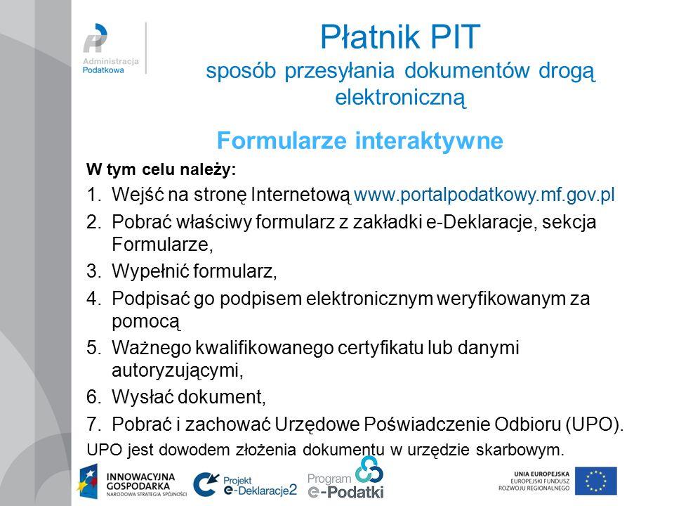 Płatnik PIT sposób przesyłania dokumentów drogą elektroniczną