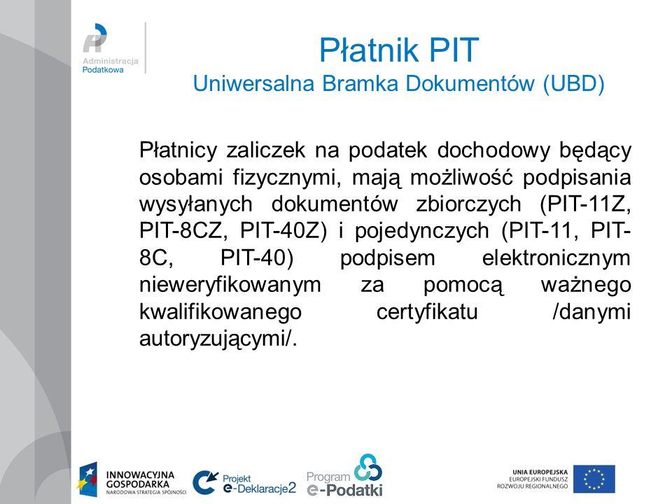 Płatnik PIT Uniwersalna Bramka Dokumentów (UBD)
