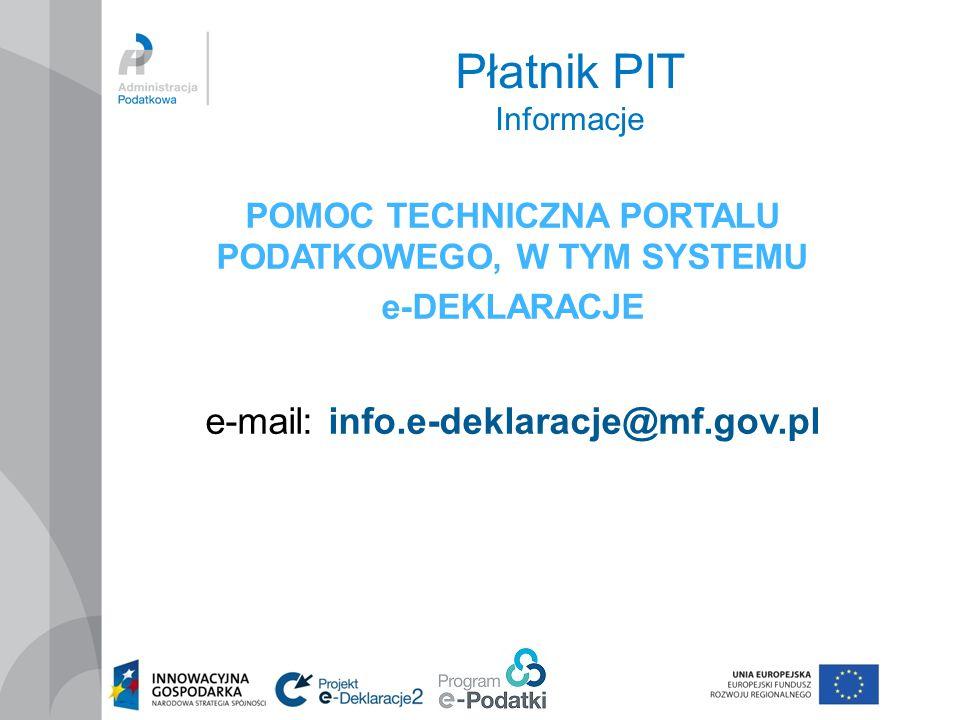 Płatnik PIT Informacje