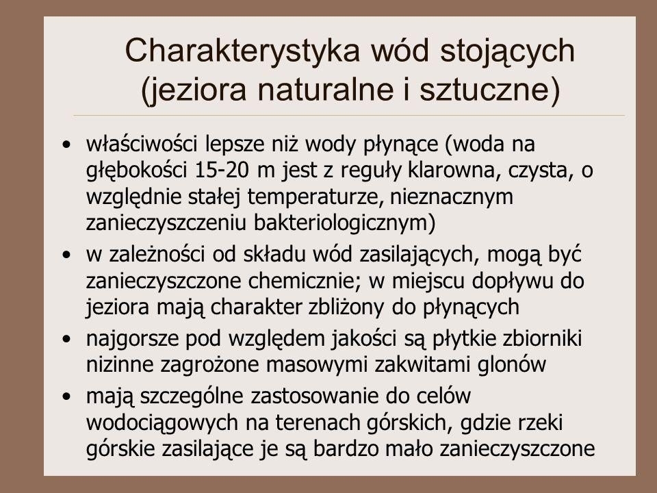 Charakterystyka wód stojących (jeziora naturalne i sztuczne)