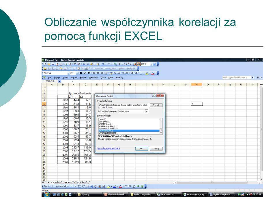 Obliczanie współczynnika korelacji za pomocą funkcji EXCEL