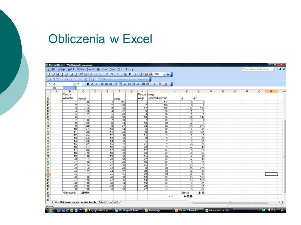 Obliczenia w Excel