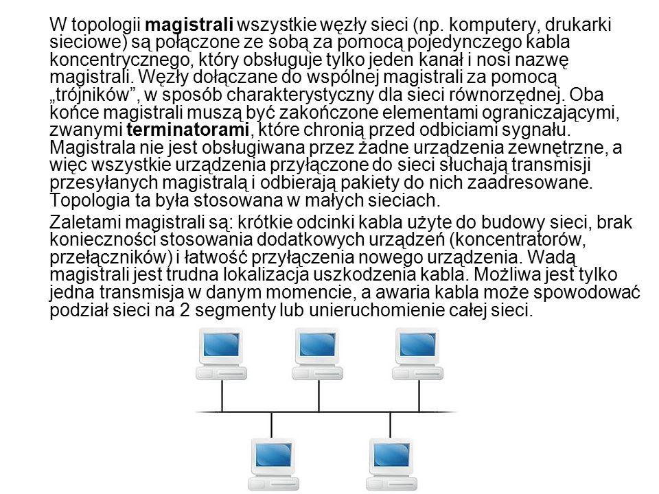 W topologii magistrali wszystkie węzły sieci (np