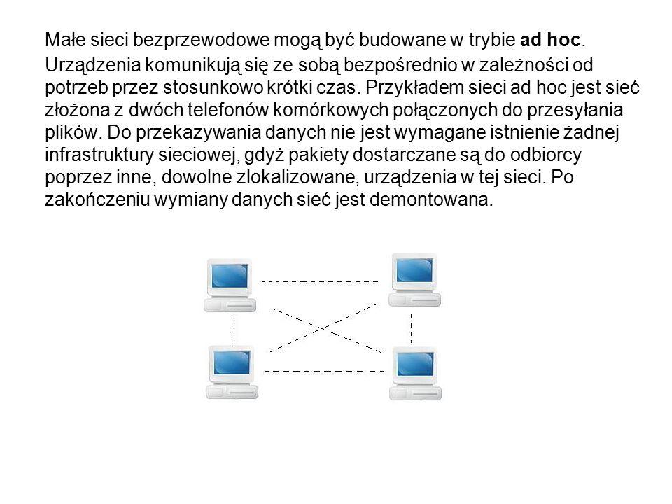Małe sieci bezprzewodowe mogą być budowane w trybie ad hoc