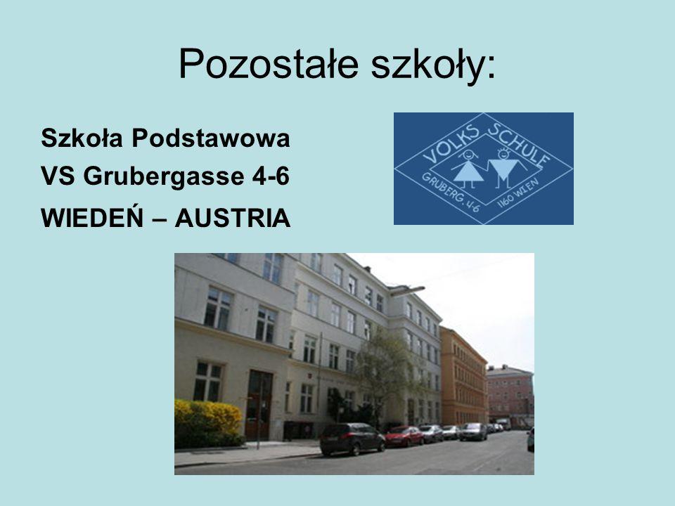Pozostałe szkoły: Szkoła Podstawowa VS Grubergasse 4-6