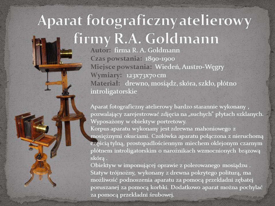 Aparat fotograficzny atelierowy firmy R.A. Goldmann