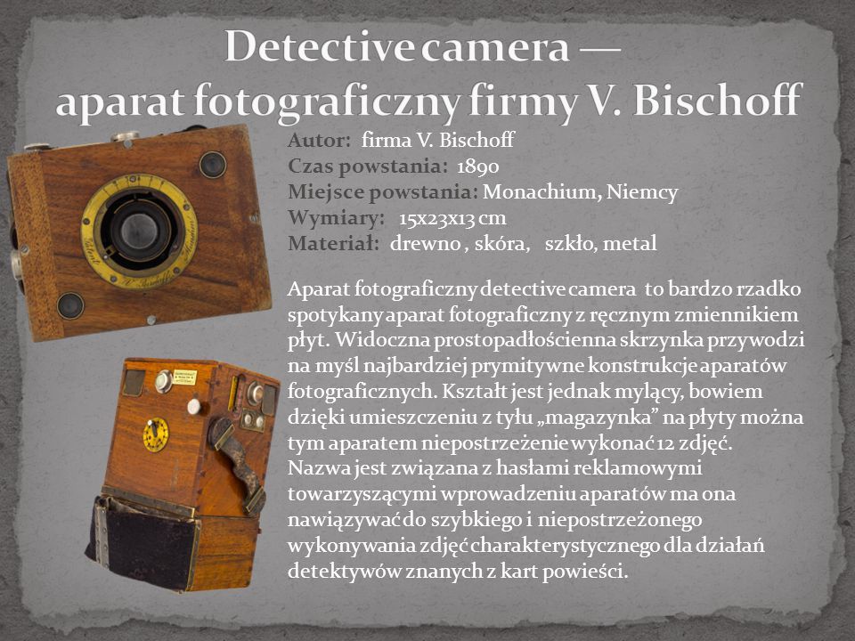 Detective camera — aparat fotograficzny firmy V. Bischoff