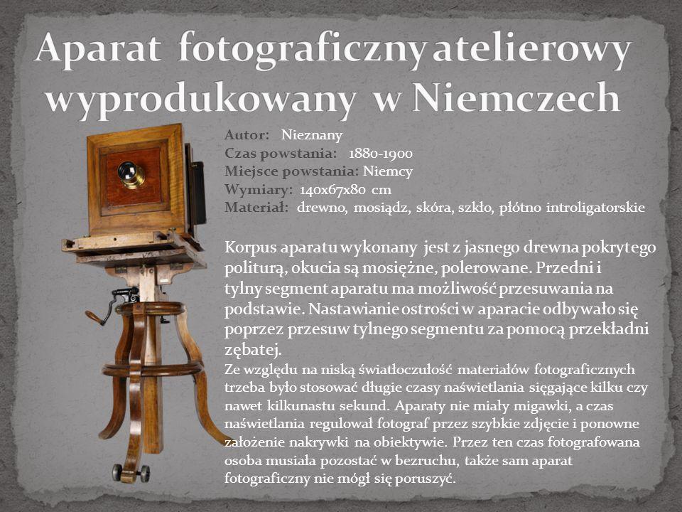 Aparat fotograficzny atelierowy wyprodukowany w Niemczech