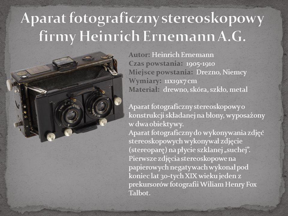 Aparat fotograficzny stereoskopowy firmy Heinrich Ernemann A.G.