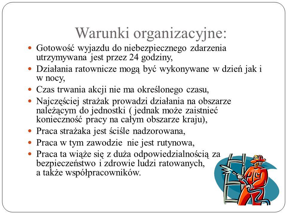 Warunki organizacyjne: