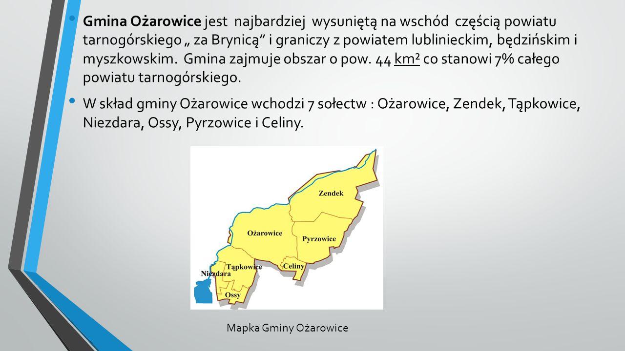 """Gmina Ożarowice jest najbardziej wysuniętą na wschód częścią powiatu tarnogórskiego """" za Brynicą i graniczy z powiatem lublinieckim, będzińskim i myszkowskim. Gmina zajmuje obszar o pow. 44 km² co stanowi 7% całego powiatu tarnogórskiego."""