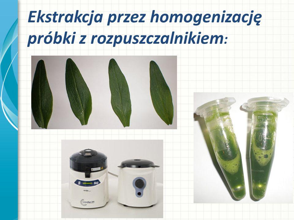 Ekstrakcja przez homogenizację próbki z rozpuszczalnikiem: