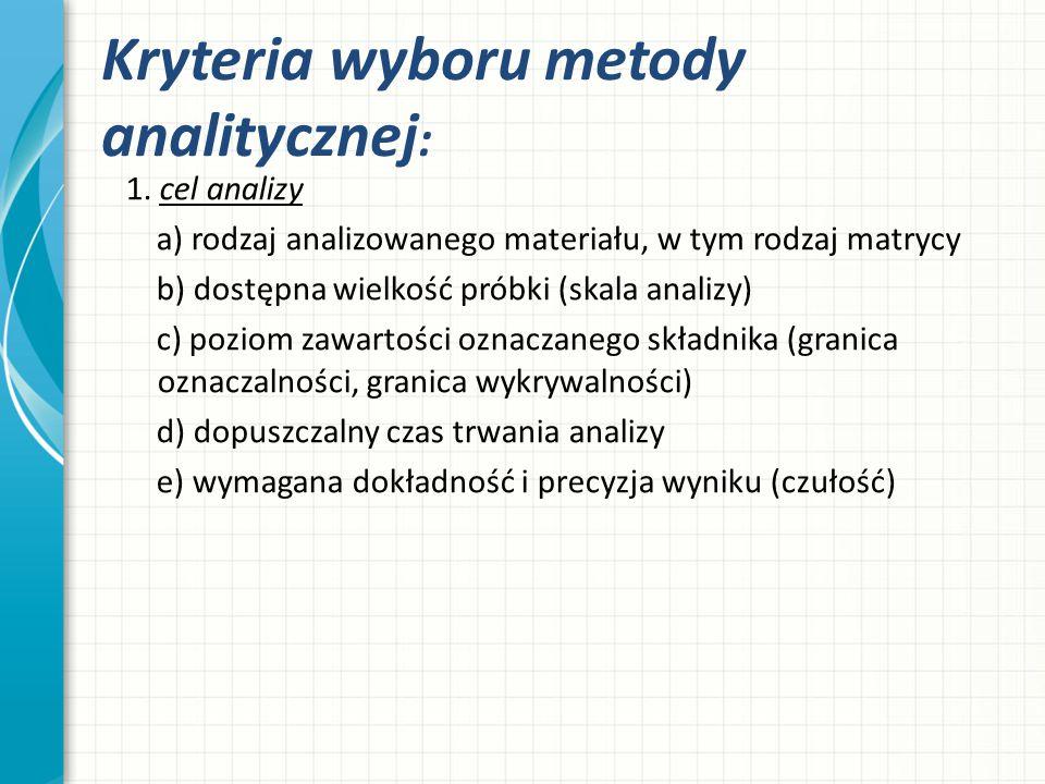 Kryteria wyboru metody analitycznej: