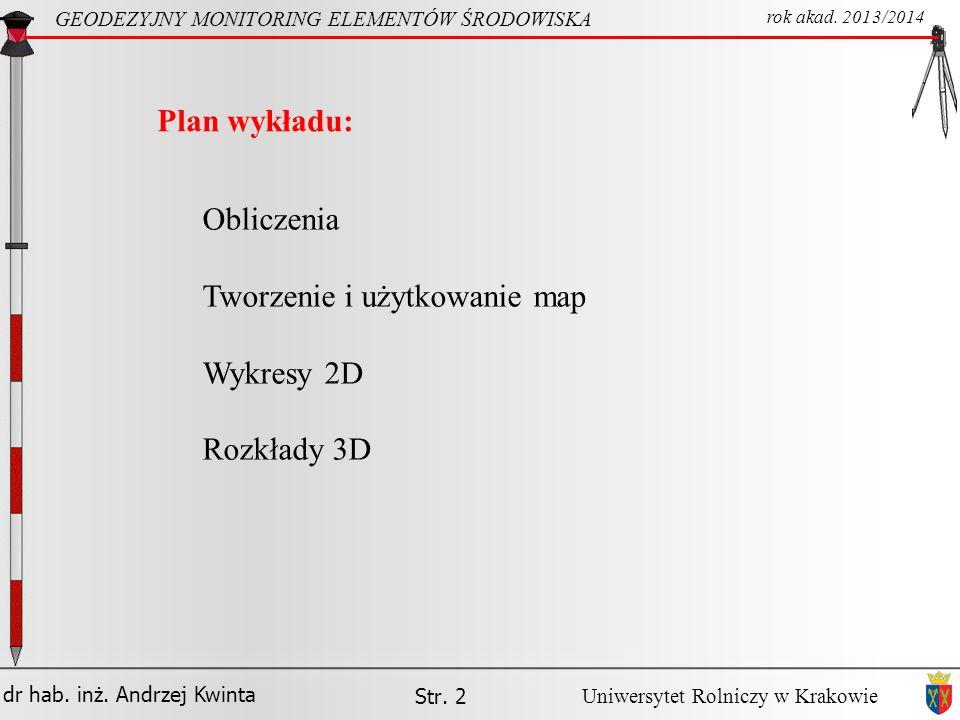 Tworzenie i użytkowanie map Wykresy 2D Rozkłady 3D
