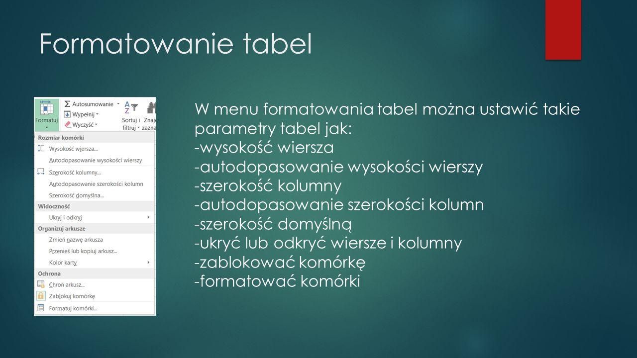 Formatowanie tabel W menu formatowania tabel można ustawić takie parametry tabel jak: -wysokość wiersza.