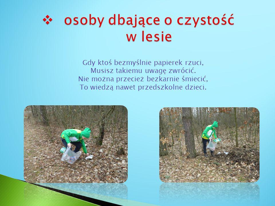 osoby dbające o czystość w lesie
