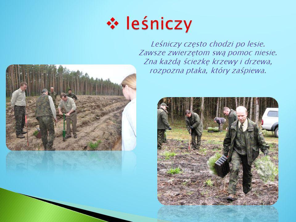 leśniczy Leśniczy często chodzi po lesie. Zawsze zwierzętom swą pomoc niesie.