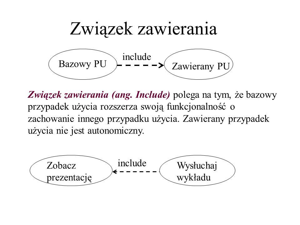 Związek zawierania include Bazowy PU Zawierany PU