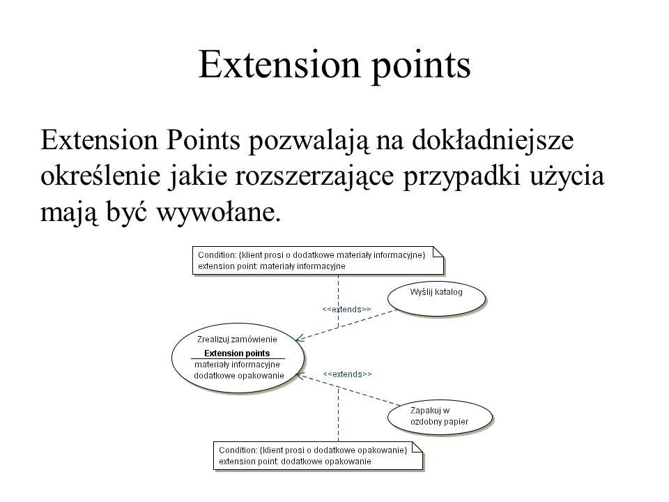 Extension points Extension Points pozwalają na dokładniejsze określenie jakie rozszerzające przypadki użycia mają być wywołane.