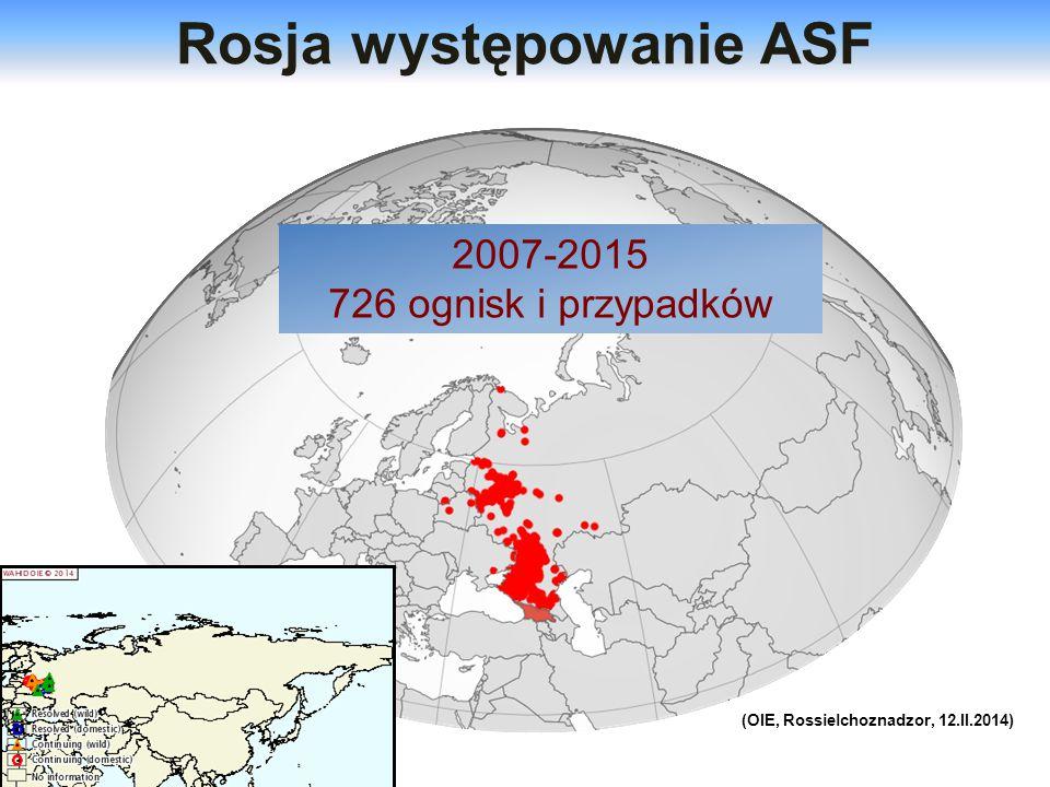 Rosja występowanie ASF (OIE, Rossielchoznadzor, 12.II.2014)