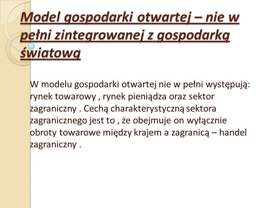 Model gospodarki otwartej – nie w pełni zintegrowanej z gospodarką światową