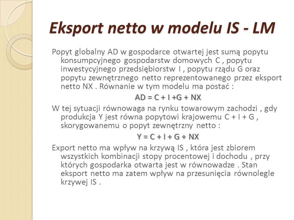 Eksport netto w modelu IS - LM