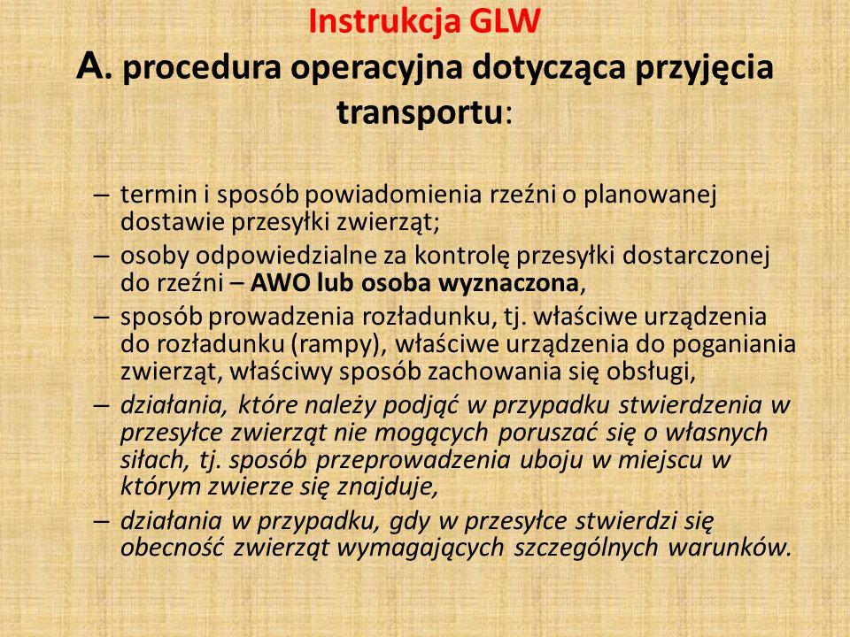 Instrukcja GLW A. procedura operacyjna dotycząca przyjęcia transportu: