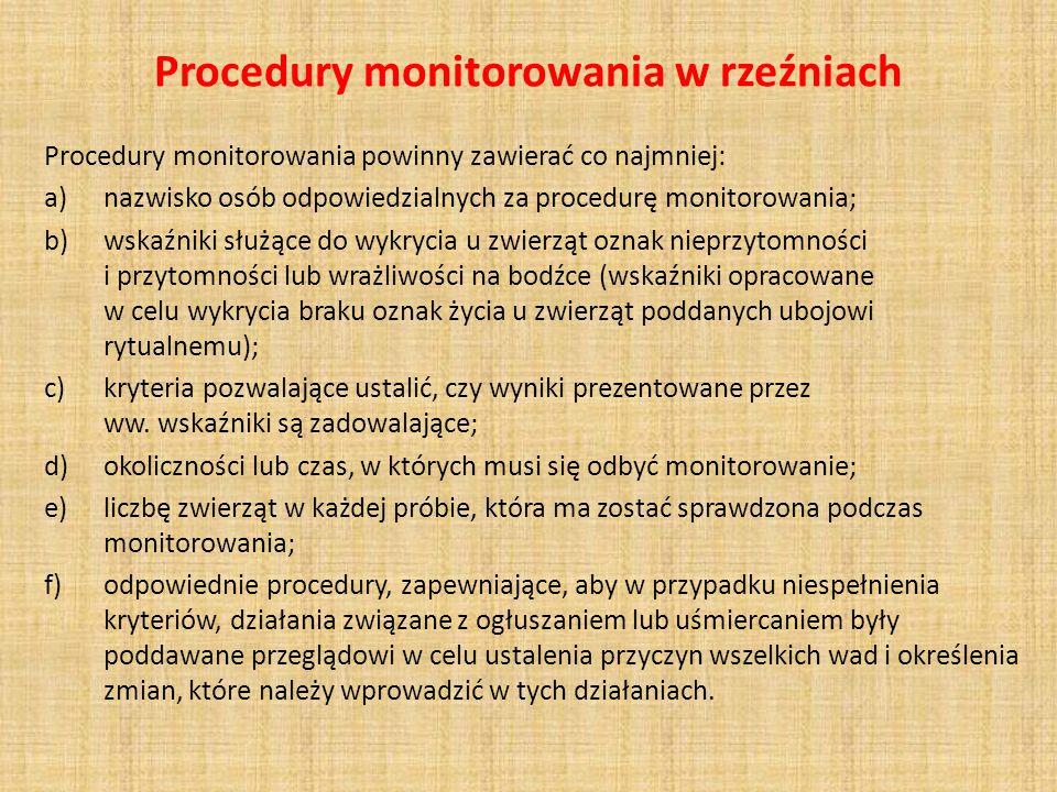 Procedury monitorowania w rzeźniach