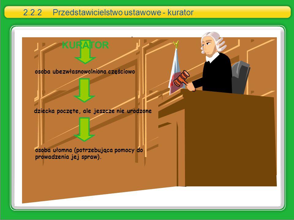 2.2.2 Przedstawicielstwo ustawowe - kurator