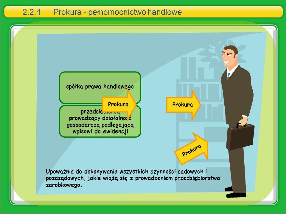 2.2.4 Prokura - pełnomocnictwo handlowe