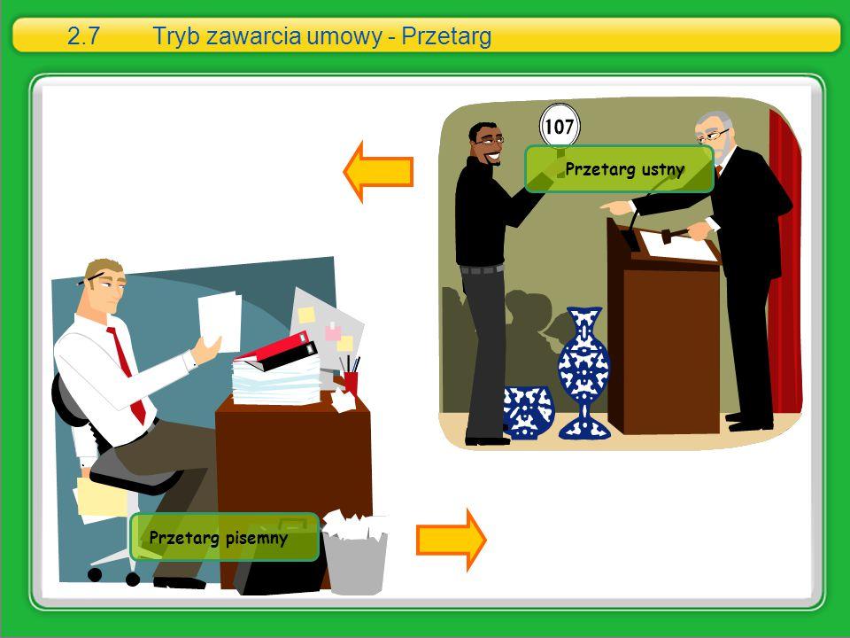 2.7 Tryb zawarcia umowy - Przetarg