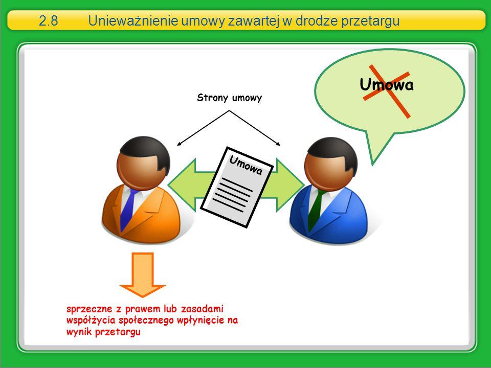2.8 Unieważnienie umowy zawartej w drodze przetargu