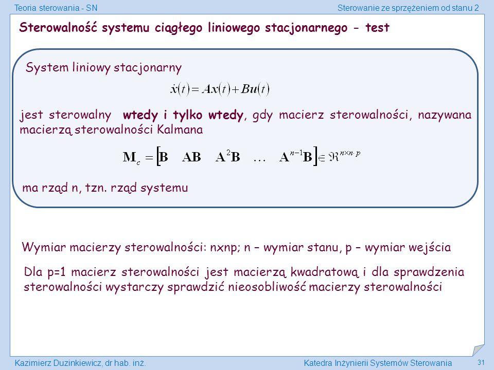 Sterowalność systemu ciągłego liniowego stacjonarnego - test