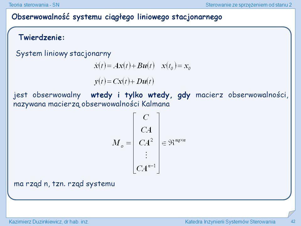 Obserwowalność systemu ciągłego liniowego stacjonarnego