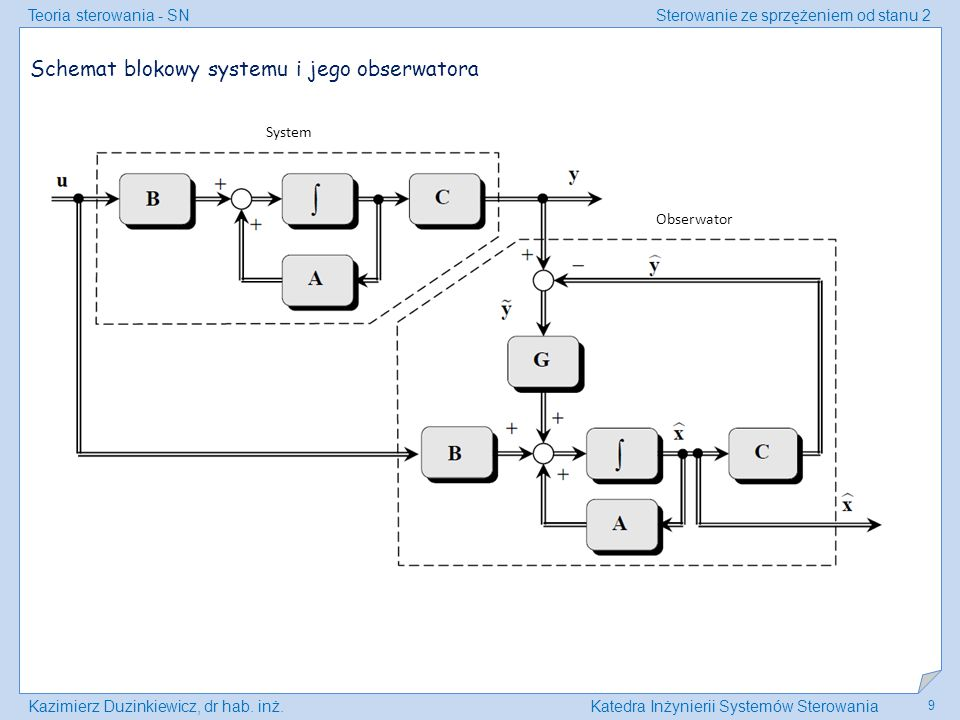 Schemat blokowy systemu i jego obserwatora