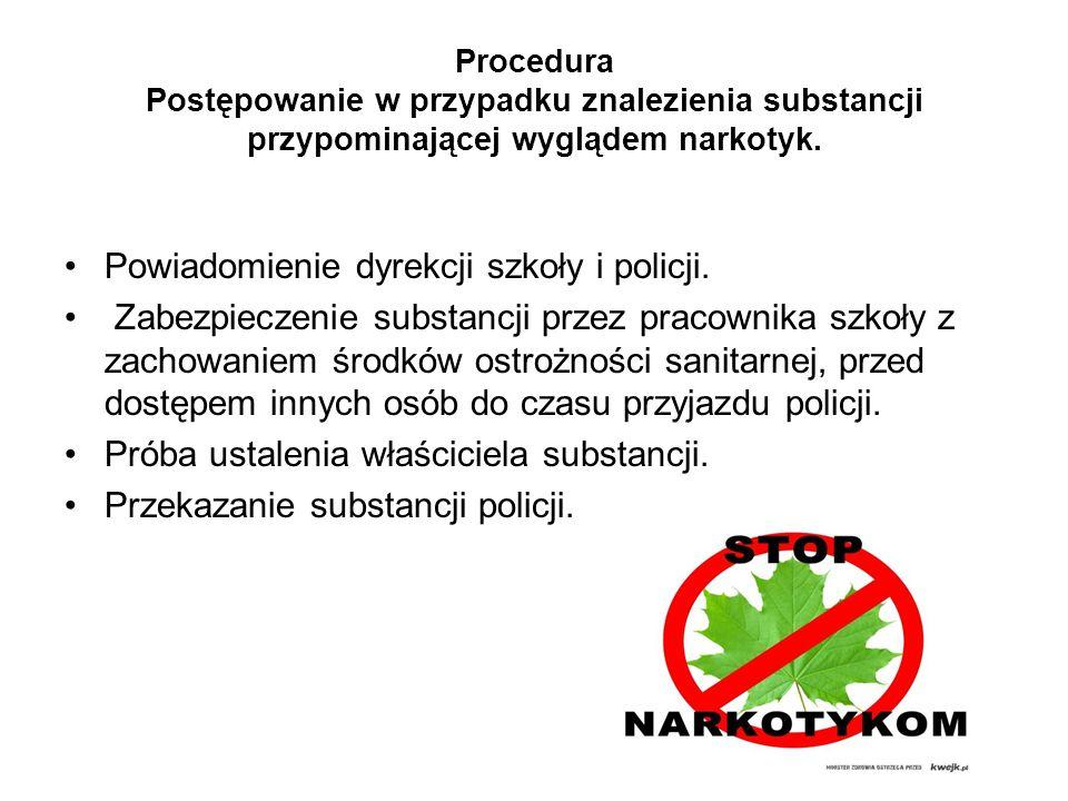 Powiadomienie dyrekcji szkoły i policji.