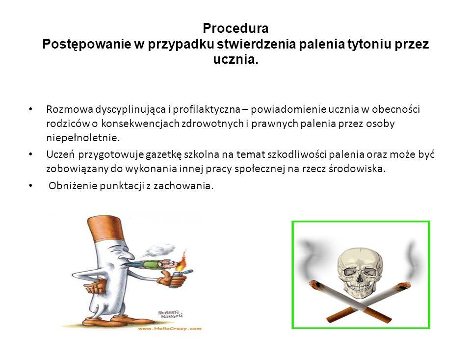 Procedura Postępowanie w przypadku stwierdzenia palenia tytoniu przez ucznia.