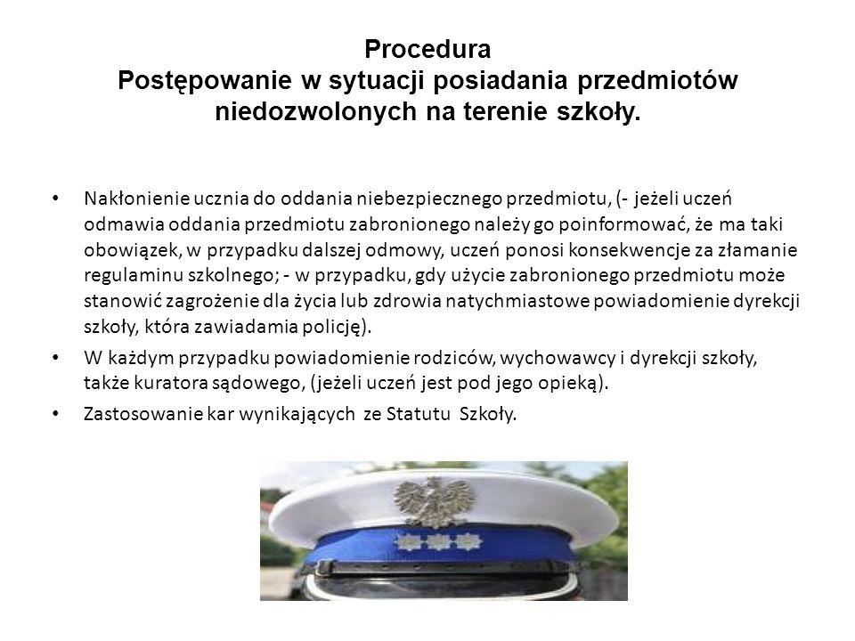 Procedura Postępowanie w sytuacji posiadania przedmiotów niedozwolonych na terenie szkoły.