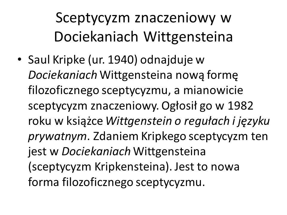 Sceptycyzm znaczeniowy w Dociekaniach Wittgensteina