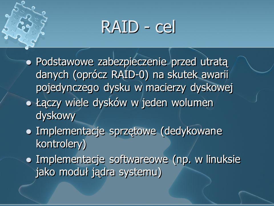 RAID - cel Podstawowe zabezpieczenie przed utratą danych (oprócz RAID-0) na skutek awarii pojedynczego dysku w macierzy dyskowej.