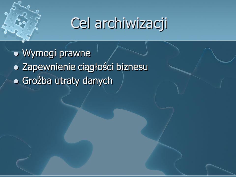 Cel archiwizacji Wymogi prawne Zapewnienie ciągłości biznesu