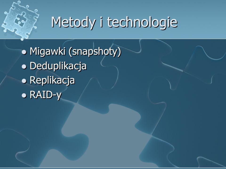 Metody i technologie Migawki (snapshoty) Deduplikacja Replikacja