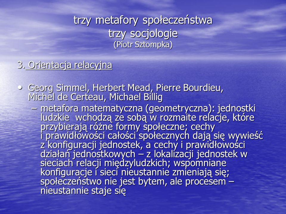 trzy metafory społeczeństwa trzy socjologie (Piotr Sztompka)