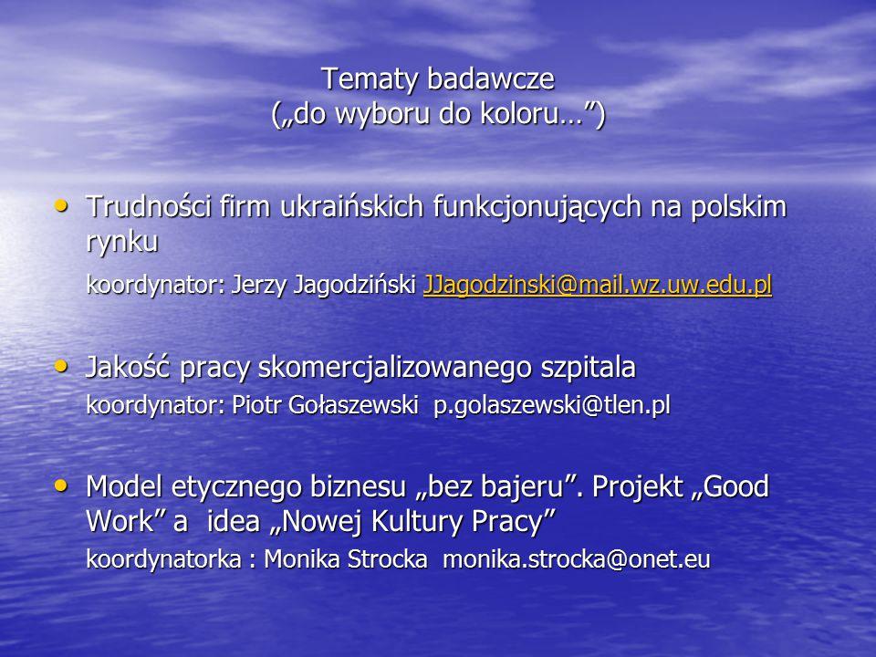 """Tematy badawcze (""""do wyboru do koloru… )"""