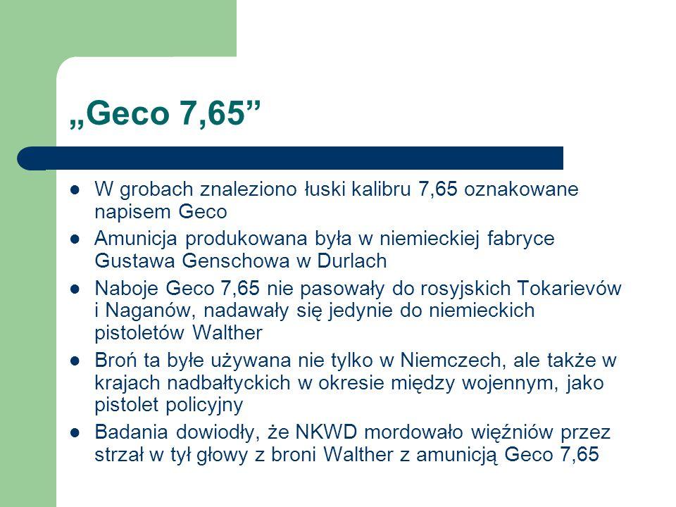 """""""Geco 7,65 W grobach znaleziono łuski kalibru 7,65 oznakowane napisem Geco."""