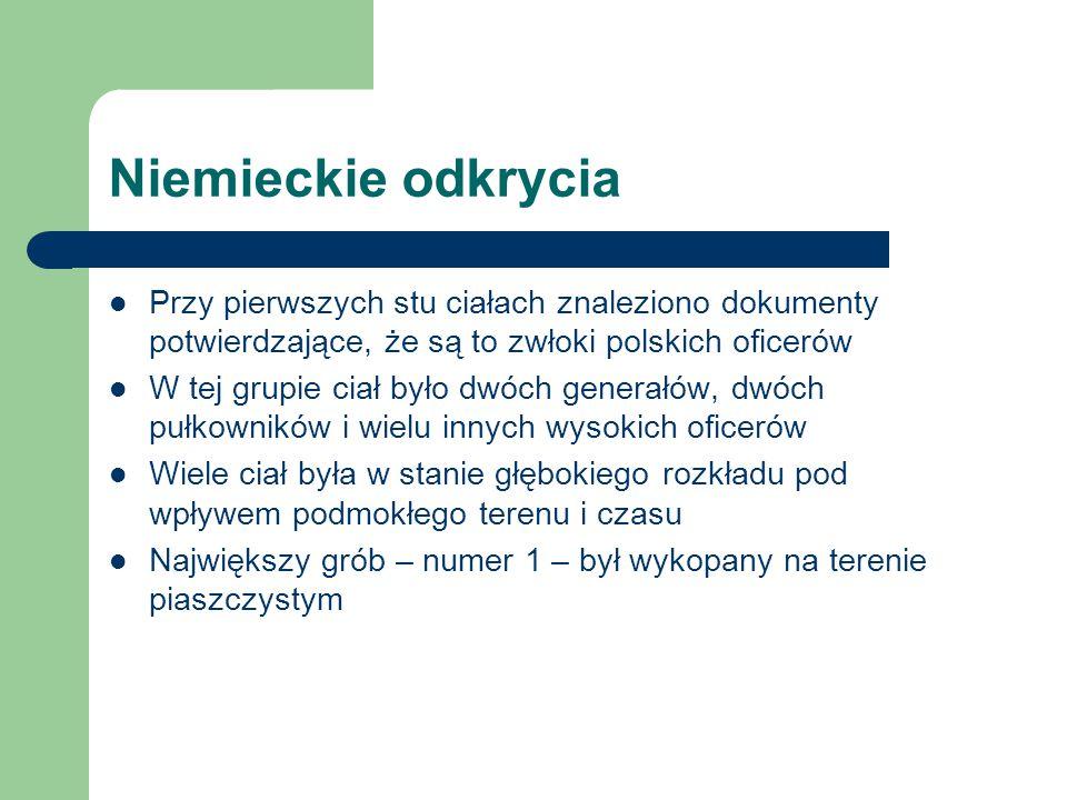 Niemieckie odkrycia Przy pierwszych stu ciałach znaleziono dokumenty potwierdzające, że są to zwłoki polskich oficerów.