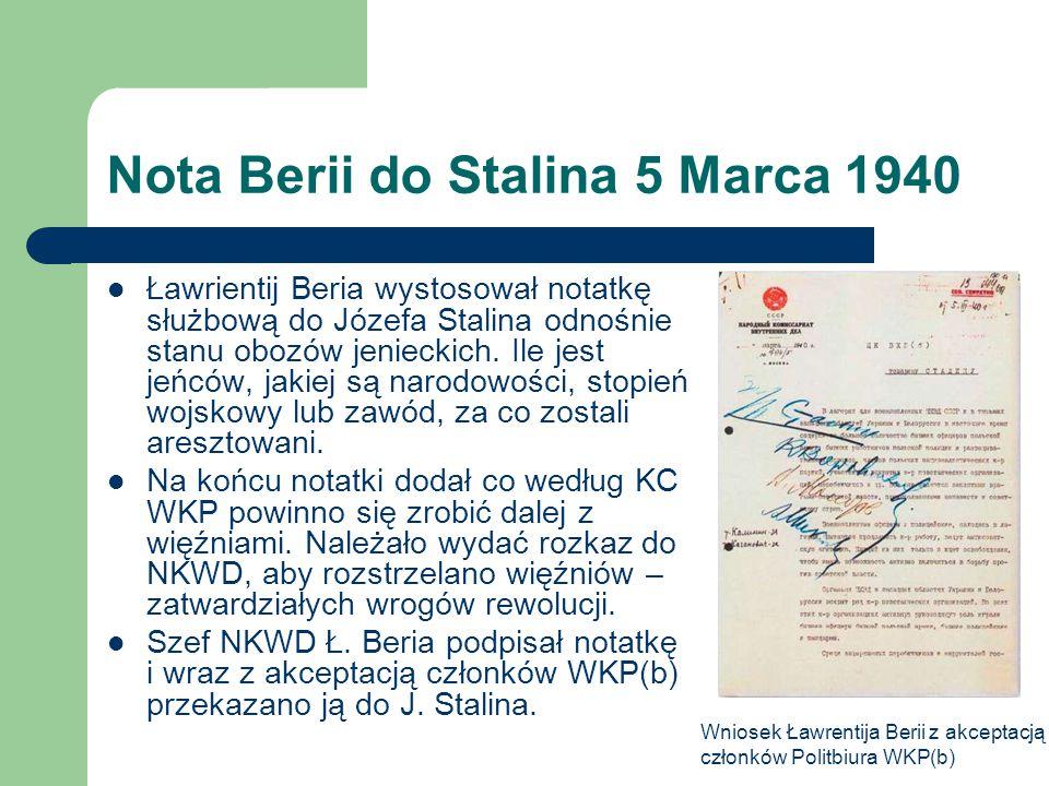 Nota Berii do Stalina 5 Marca 1940